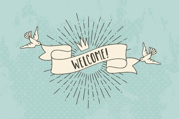 """Vintage banner with birds and sunburst saying """"welcome!"""""""