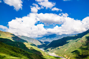 View on Gorche chicamocha canyon in the Andes of Colombia