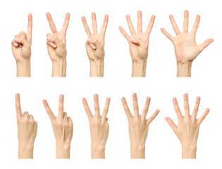 Female hand counting from one to five