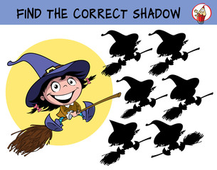 Cute little witch girl with bows flying on a broomstick. Find the correct shadow. Educational matching game for children. Cartoon vector illustration