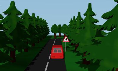 Darstellung der Straßensituation Doppelkurve mit Verkehrsschild mit rotem Auto.