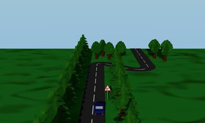 Ansicht der Straßensituation Doppelkurve mit Verkehrsschild und blauen Auto.