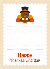 cartoon letter thanksgiving day with cute turkey with hat