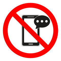 phone sign prohibited on white background