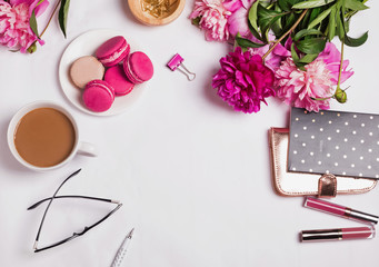 Pink peonies, coffee with milk and cute feminine accessories