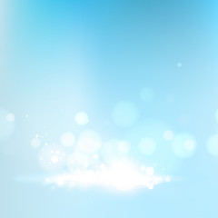 Blue bokeh abstract light background. Vector illustartion.