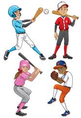 set of young baseball player