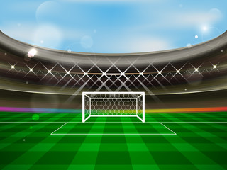 Soccer stadium vector banner. Football arena with spotlights, tribunes, soccer goal net and green grass.
