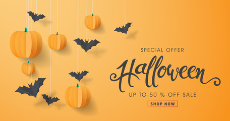 Fototapeta Happy Halloween calligraphy with paper bats and pumpkins. banners party invitation.Vector illustration. obraz