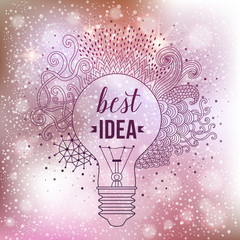 Light bulb made of handdrawn doodles, creative concept. Vector concept - creativity and idea. Lettering. quote. Creative light bulb, Big idea, Creative Research.