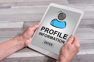 Profile information concept on a tablet Fototapete