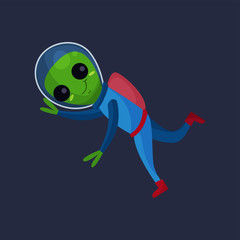 Smiling alien with big eyes wearing blue space suit flying in Space, alien positive character cartoon vector Illustration