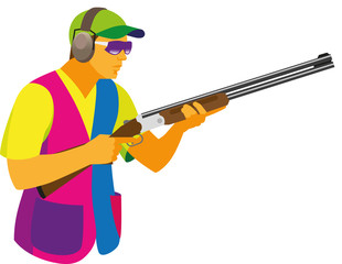 A young man is a participant in the shooting competition by clay pigeon, who is preparing a shot