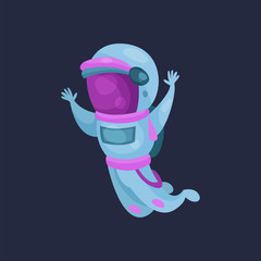 Spaceman character in space suit, astronaut flying in Space cartoon vector Illustration
