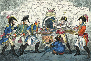 Military and political caricature from the 18th century.