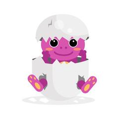 Cute newborn purple animal character, funny animal in egg shell cartoon vector Illustration