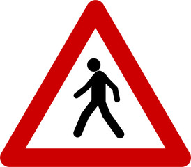 Warning sign with pedestrian