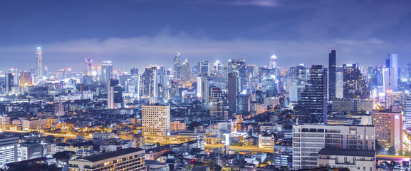 Bangkok skyline panorama aerial view at night.