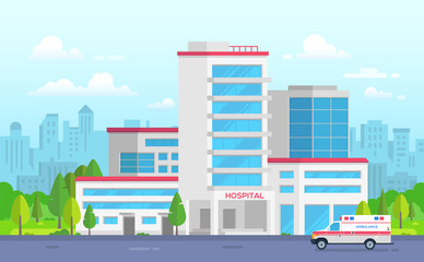 City hospital with ambulance - modern vector illustration