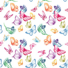 Watercolor butterfly vector pattern