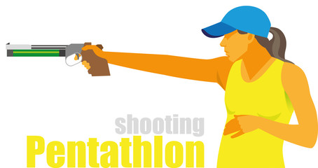 a young pretty woman participates in shooting competitions in modern pentathlon