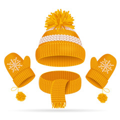 Realistic 3d Hat with a Pompom, Scarf and Mitten Set. Vector