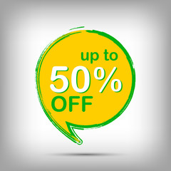 50% off green and yellow sale tag, special offer sticker. Round Discount label, vector promotion symbol