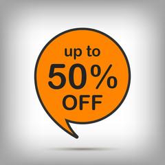 50% off orange sale tag, special offer sticker. Round Discount label, vector promotion symbol