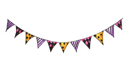 Colorful party bunting flag watercolor drawing isolated on white background, carnival garlands of flags, Holiday greeting card background.