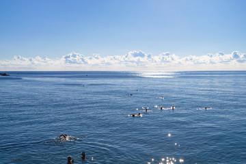 swimming tourists in Black Sea in Alushta city