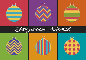 carte de vœux - noël - joyeux noël - boule de noël -design - artistique