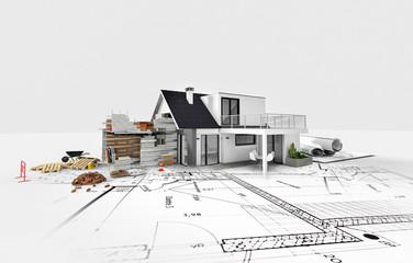 Obraz Projet d'agrandissement rénovation extension d'une maison - fototapety do salonu