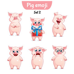 Vector set of cute pig characters. Set 2