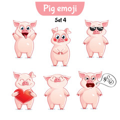 Vector set of cute pig characters. Set 4