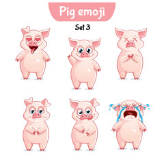 Vector set of cute pig characters. Set 3