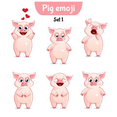 Vector set of cute pig characters. Set 1