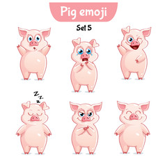 Vector set of cute pig characters. Set 5