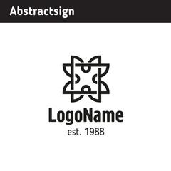 logo frame with plant motifs