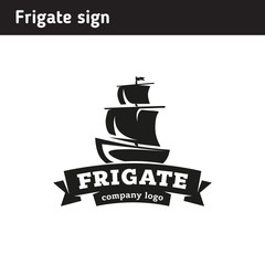 Logo in the form of a frigate, in retro style