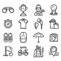 Golf icons set in line art style. Golf club, ball, golfer, bag, umbrella and other elements and accessories.