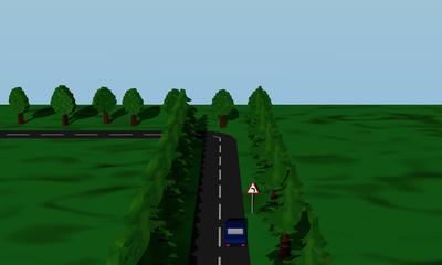 Ansicht der Straßensituation Kurve Links  mit  deutschem Verkehrsschild und blauen Auto.