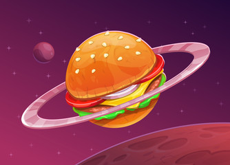 Cartoon burger planet icon on space background.