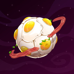 Cartoon scrambled egg planet icon.