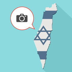 Animation of a long shadow Israel map with its flag and a comic balloon with a photo camera