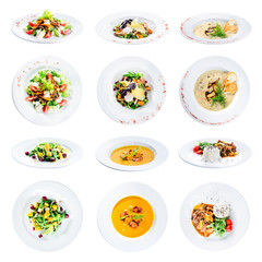 set of various plates of food isolated on white background with clipping path for Menu