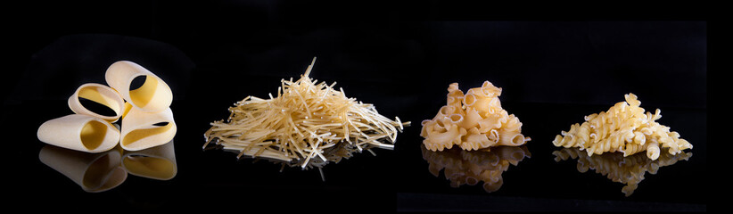 different types of pasta. The insulation on the black. 4 types