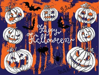 Halloween background with scary pumpkin heads on texture pattern