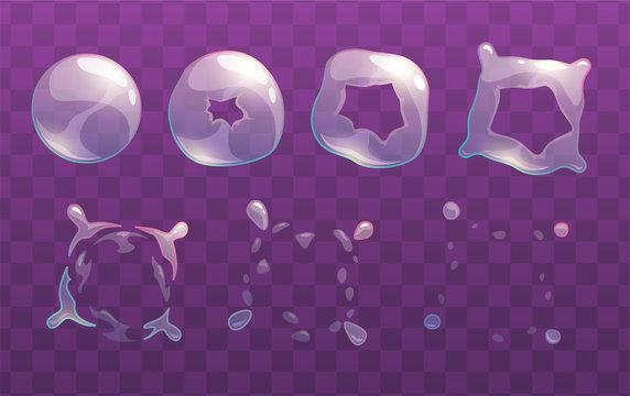 Transparent soap bubble burst sprites.
