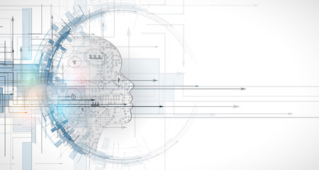 Wall Mural - Artificial intelligence. Technology web background. Virtual concept