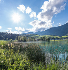 The mountain lake Thiersee in Tyrol, Austria